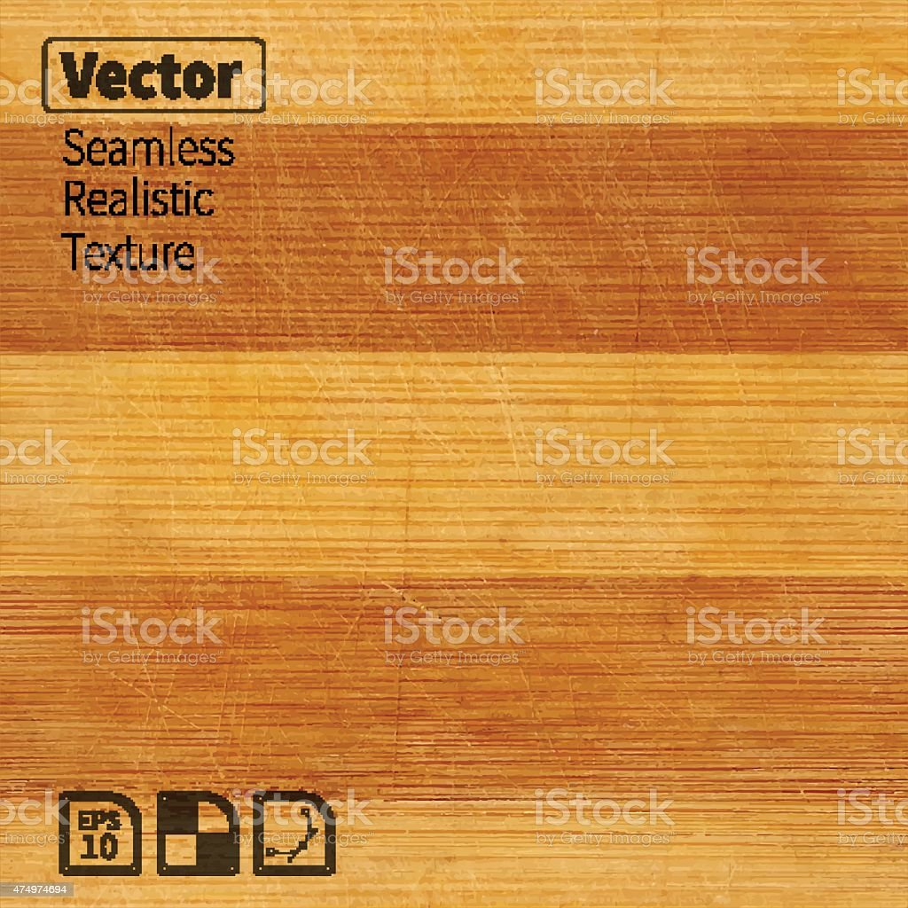 Vector seamless bamboo wood scratched board realistic texture. vector art illustration