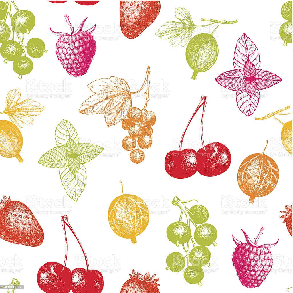 Vector seamless berries pattern vector art illustration