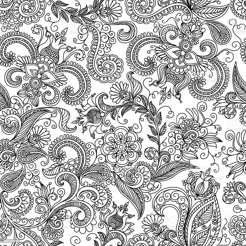 vector seamless black and red floral pattern vector art illustration