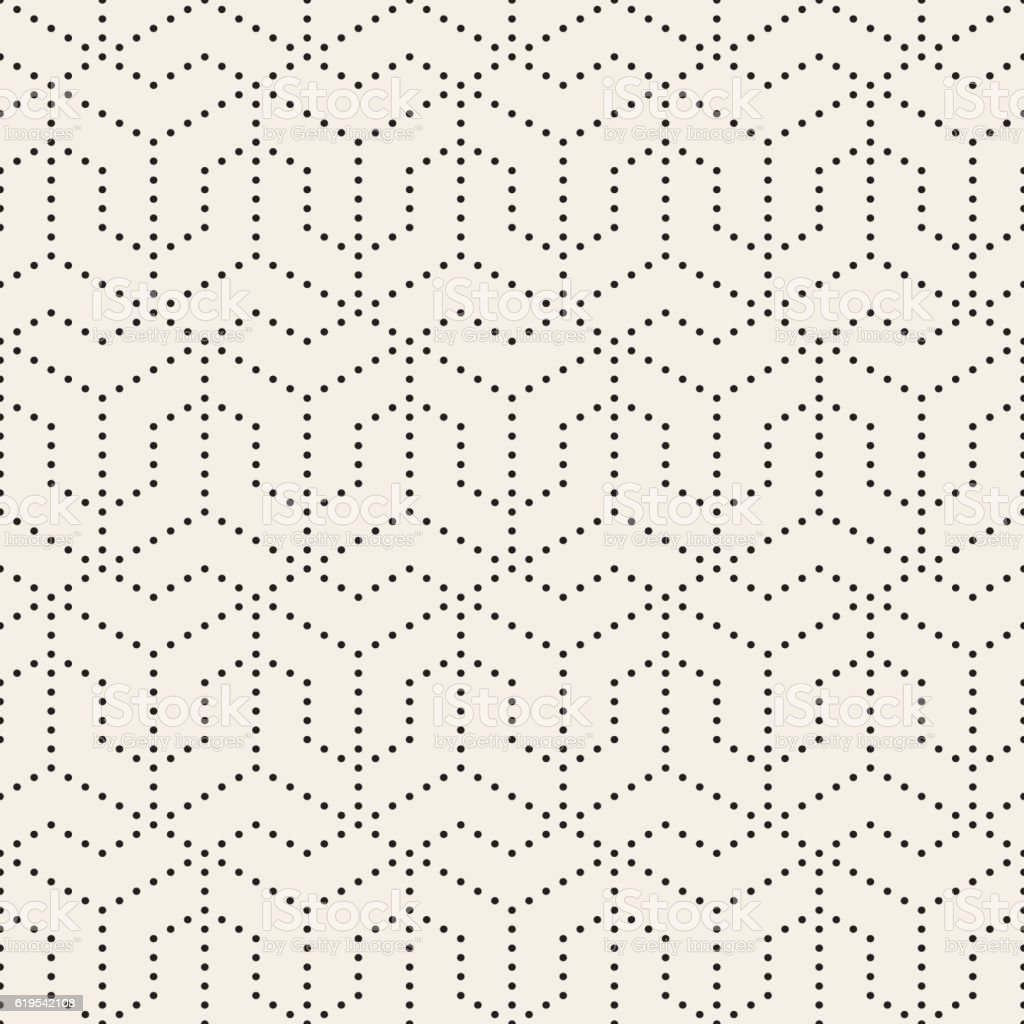 Vector Seamless Black and White Dotted Lines Grid Pattern vector art illustration