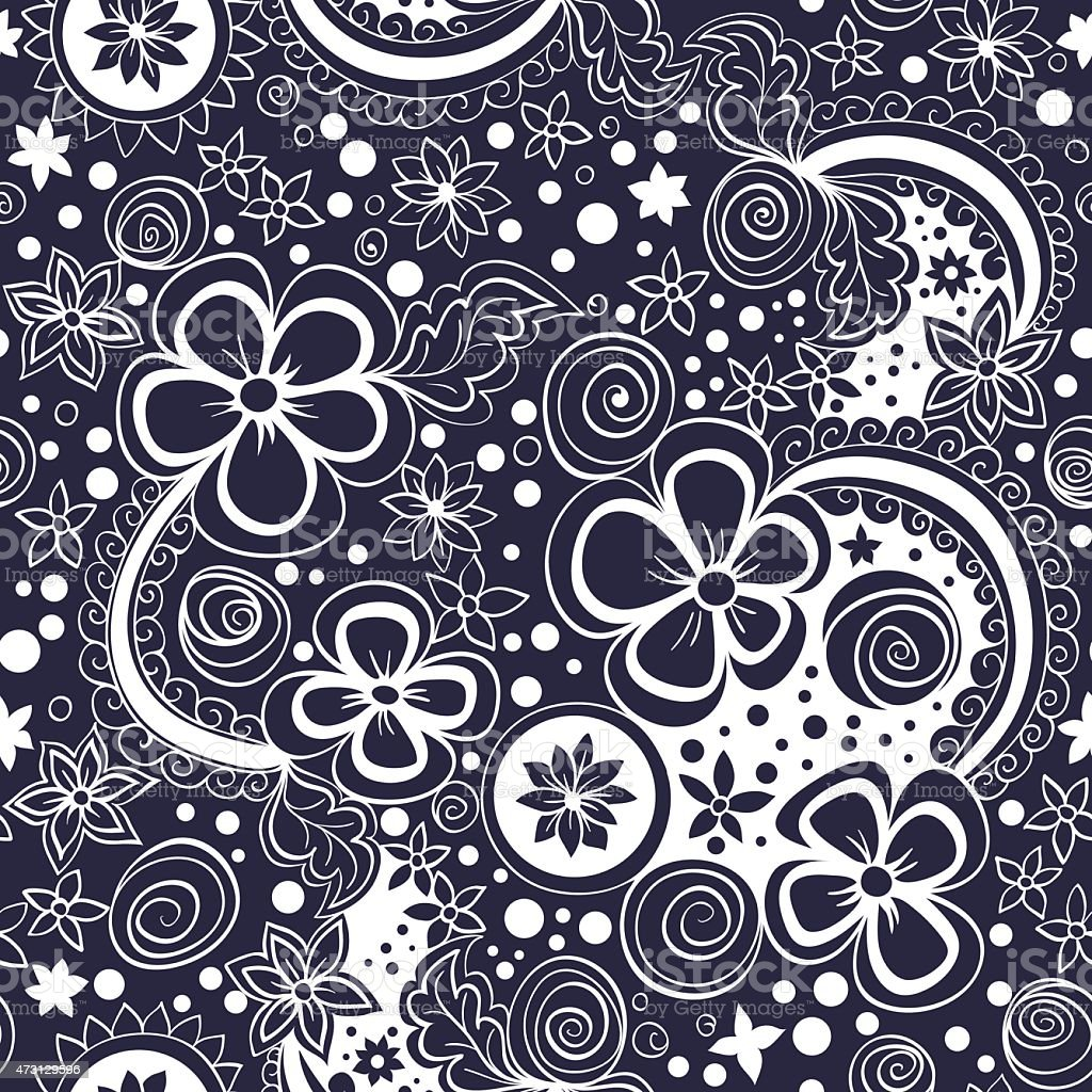 vector seamless black and white floral pattern vector art illustration