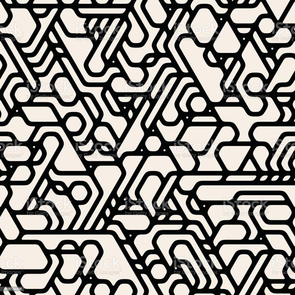 Vector Seamless Black And White Futuristic Techno Alien Pattern vector art illustration