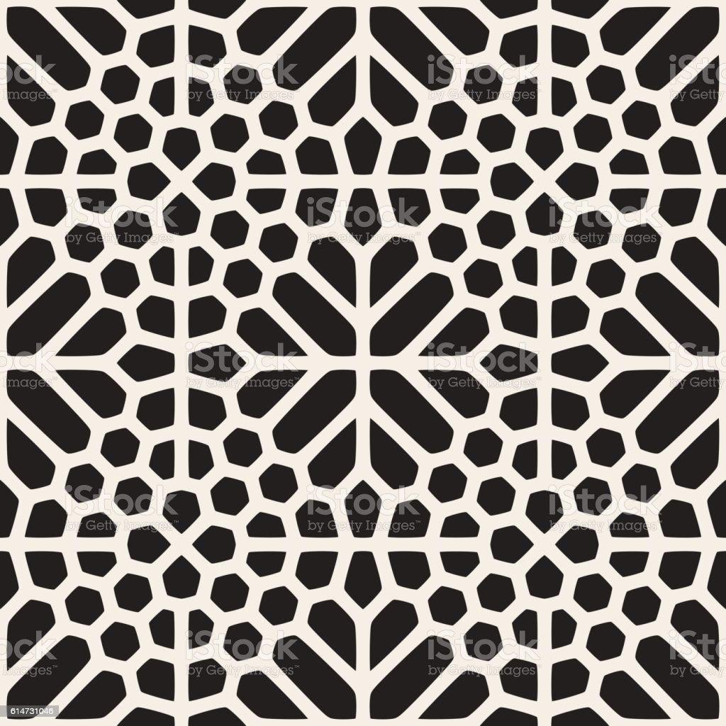 Vector Seamless Black And White Geometric Ethnic Mosaic Pattern vector art illustration