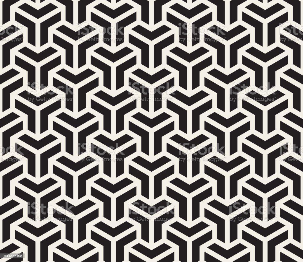 Vector Seamless Black And White Geometric Grid Pattern vector art illustration