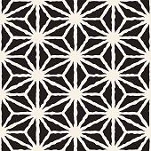 Vector Seamless Black And White Hand Drawn Star Line Pattern