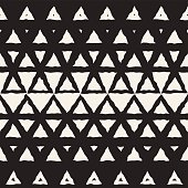 Vector Seamless Black And White Hand Drawn Triangle Halftone Pattern
