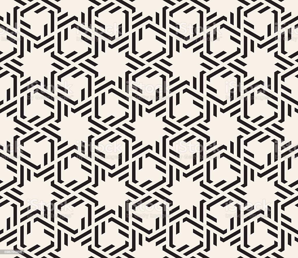 Vector Seamless Black And White Interlacing Lines Geometric Islamic Pattern vector art illustration