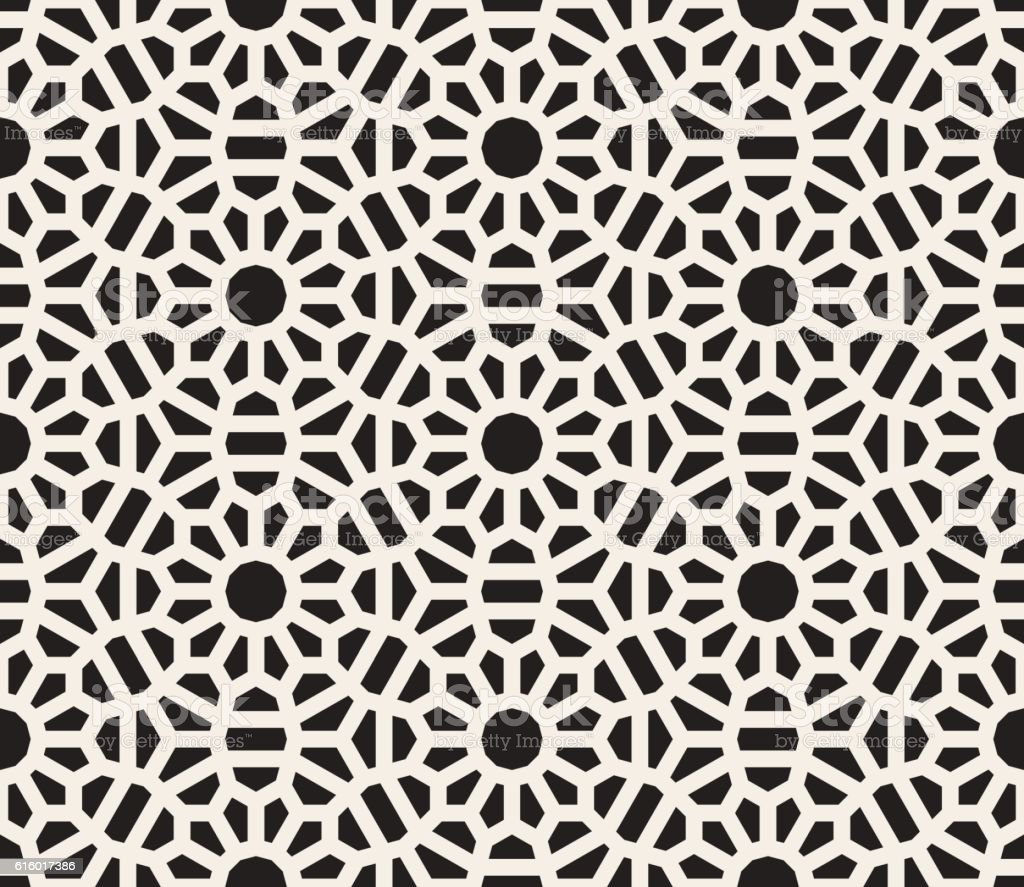 Vector Seamless Black and White Lace Floral Pattern vector art illustration