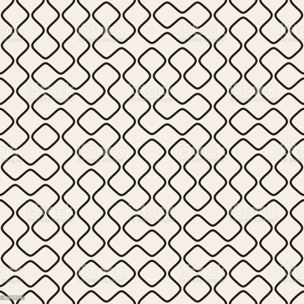 Vector Seamless Black and White Round Line Grid Geometric Pattern vector art illustration