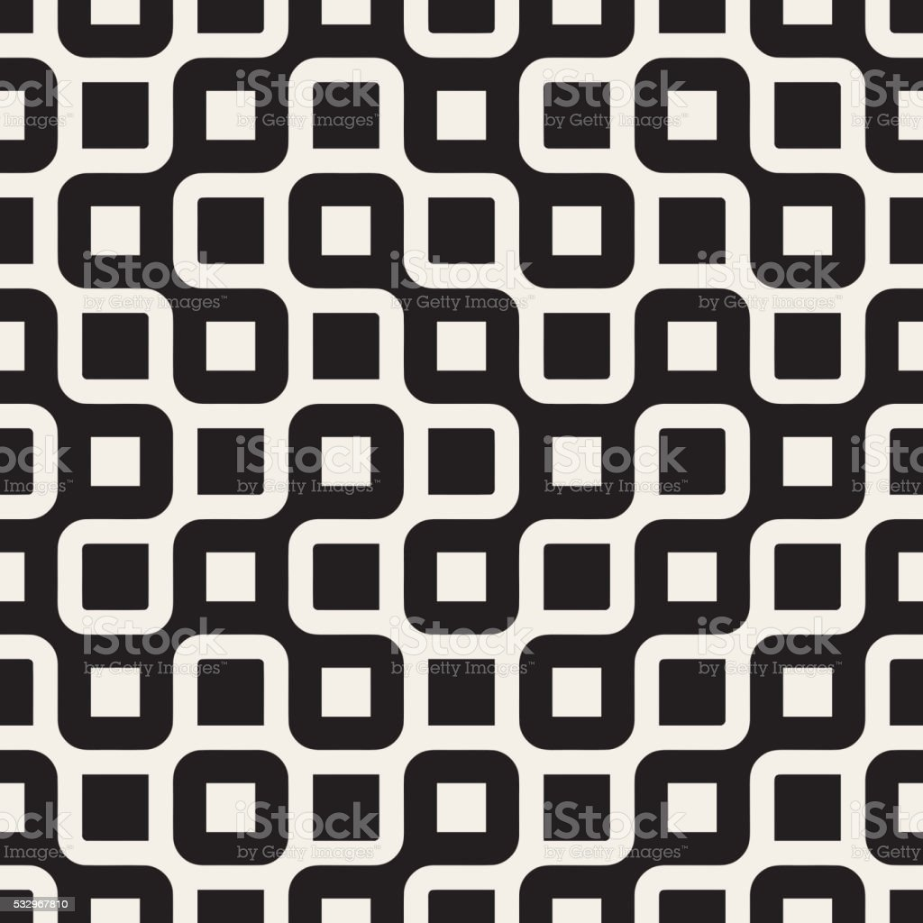 Vector Seamless Black And White Rounded Irregular Maze Lines Pattern vector art illustration