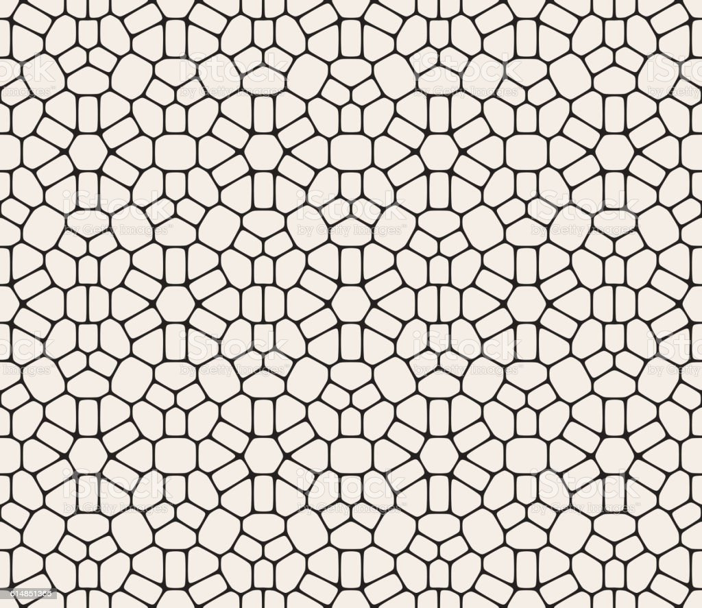 Vector Seamless Black and White Rounded Lace Pattern vector art illustration