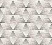 Vector Seamless Black and White Stippling Halftone Gradient Rhombus Pattern
