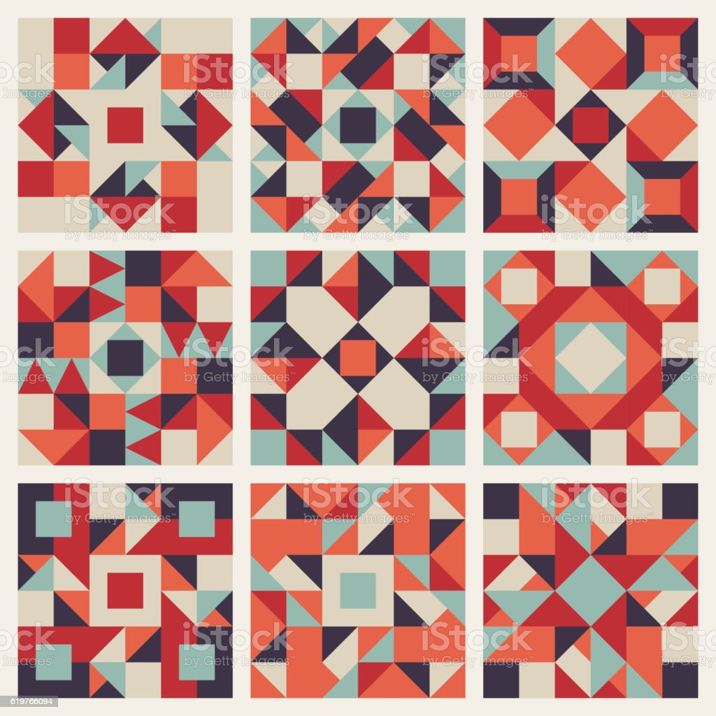 Vector Seamless Blue Red Orange Geometric Ethnic Square Quilt Pattern vector art illustration