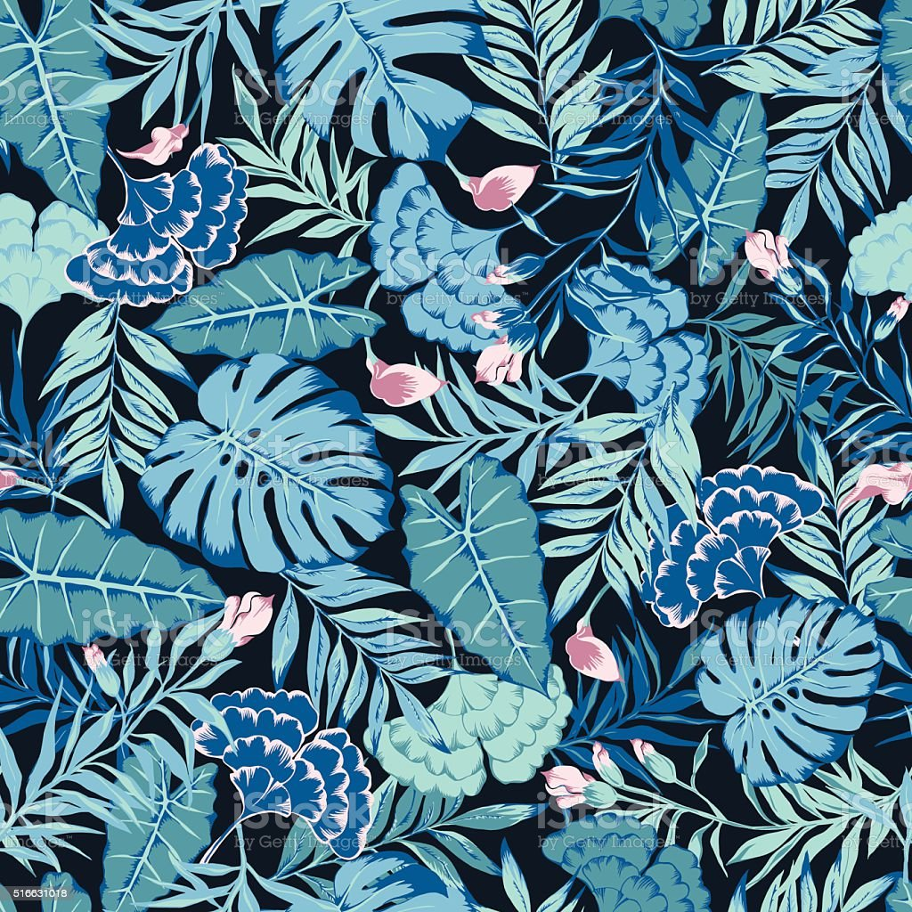 vector seamless blue with pink tropical rainforest allover pattern with flowers vector art illustration