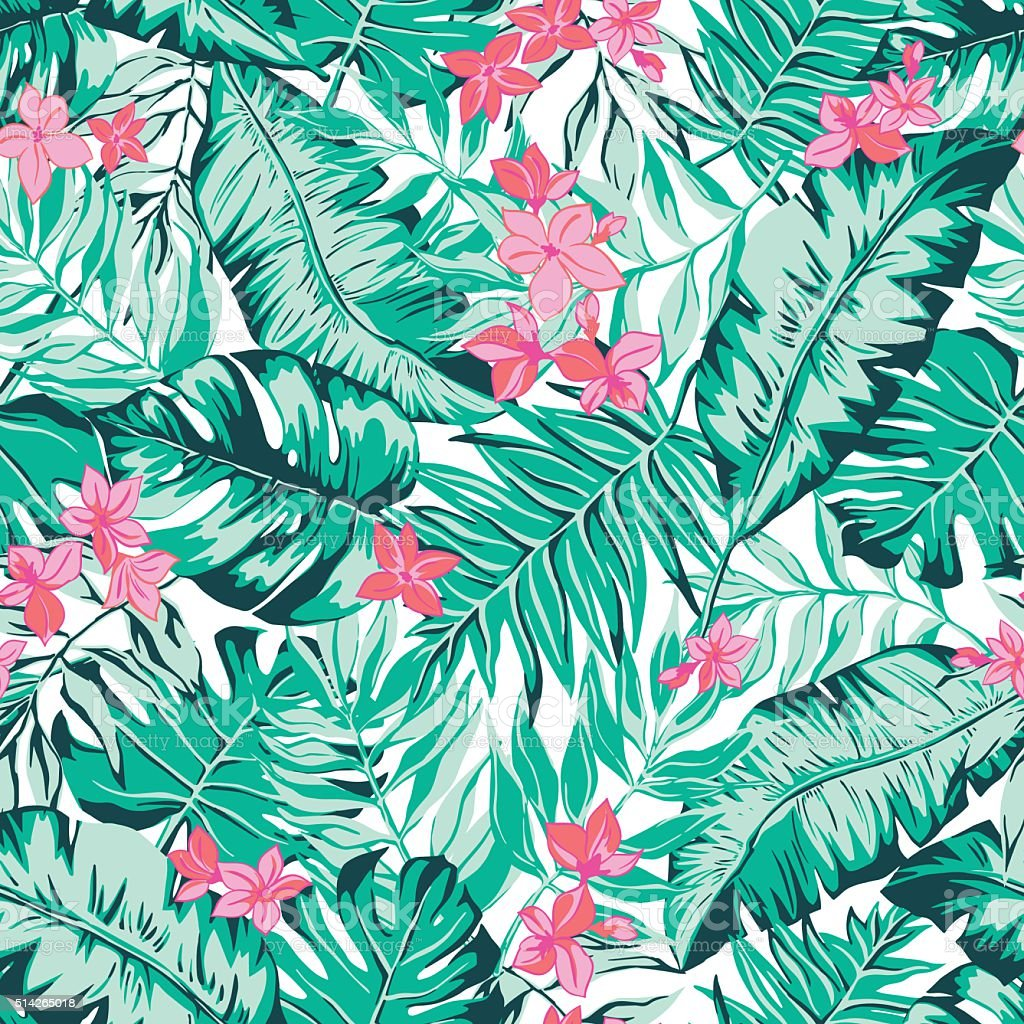 vector seamless bright green tropical pattern with leaves, flowers vector art illustration