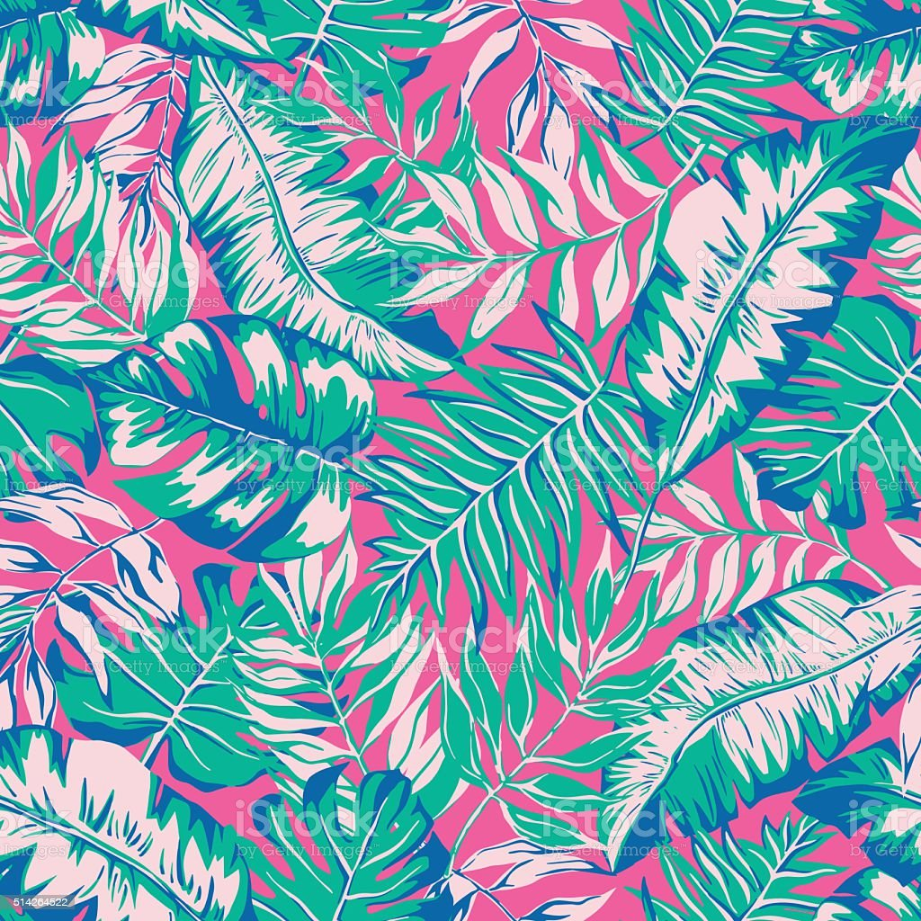 vector seamless bright tropical paradise pattern vector art illustration