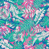 vector seamless bright tropical paradise pattern