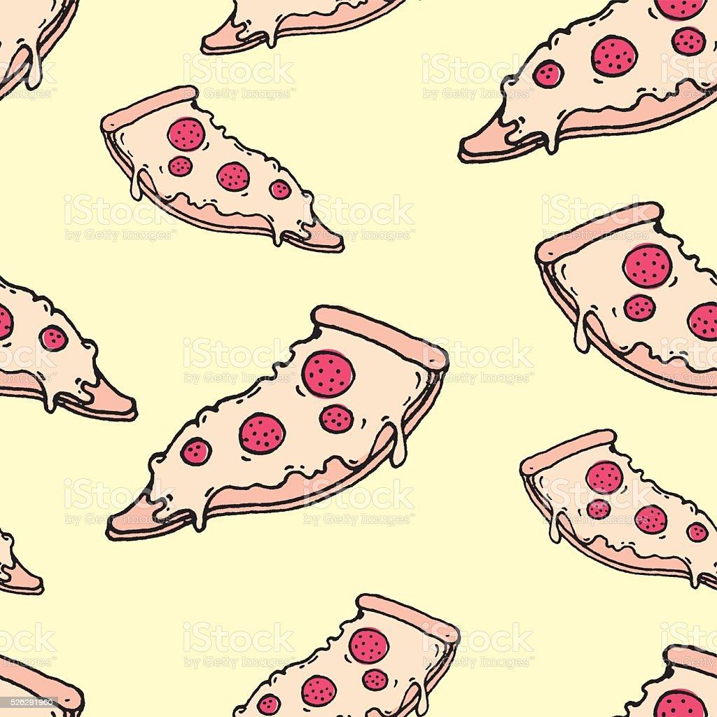 vector seamless cartoon pizza pattern vector art illustration
