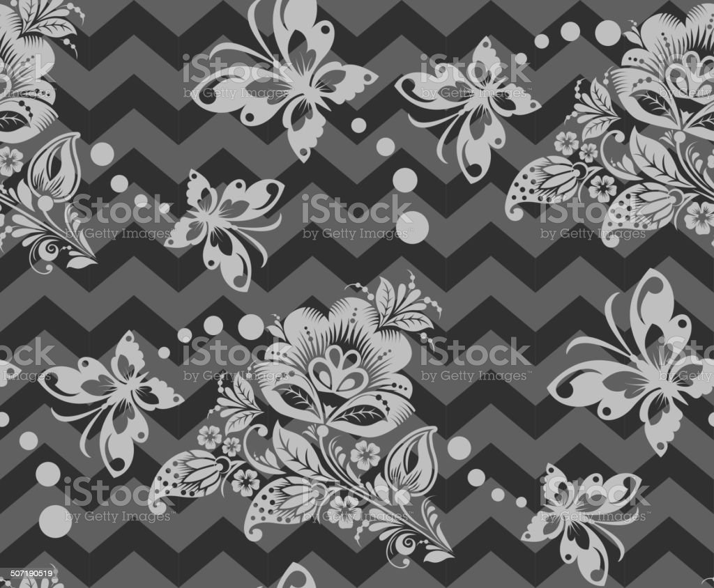 Vector Seamless chevron floral Background royalty-free stock vector art