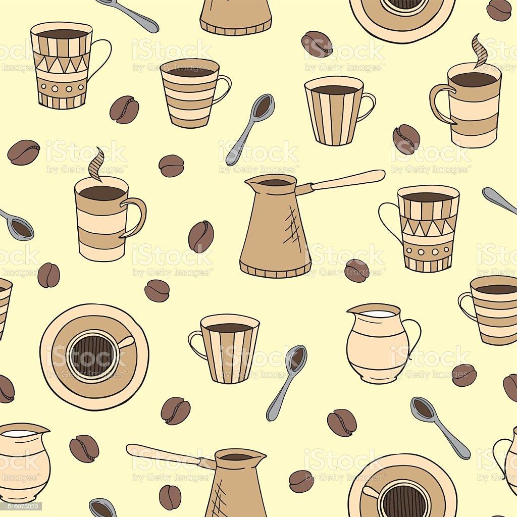 vector seamless coffee pattern vector art illustration