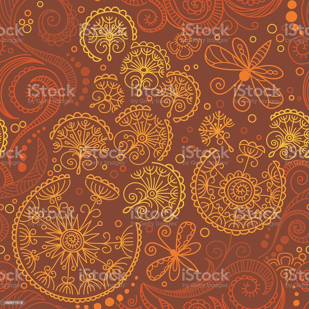 vector seamless color floral pattern vector art illustration