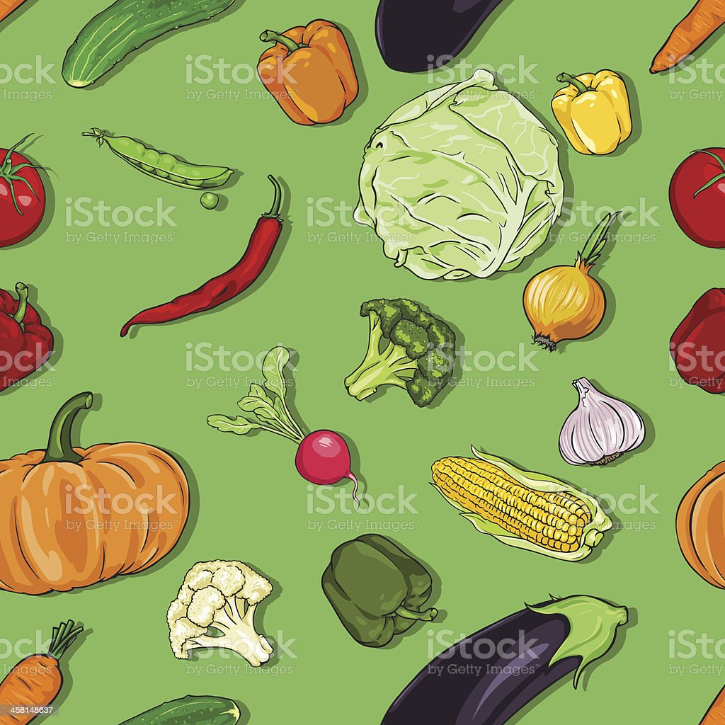 vector seamless color pattern of vegetables on green background royalty-free stock vector art