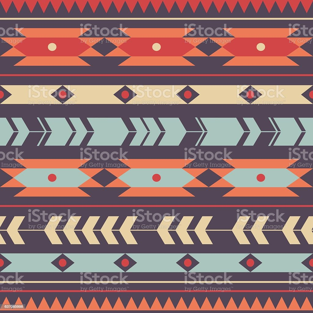 Vector seamless colorful decorative ethnic pattern vector art illustration