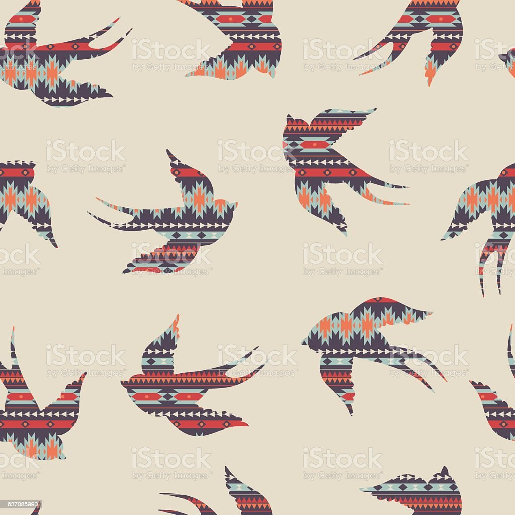Vector seamless colorful decorative ethnic pattern with swallows vector art illustration