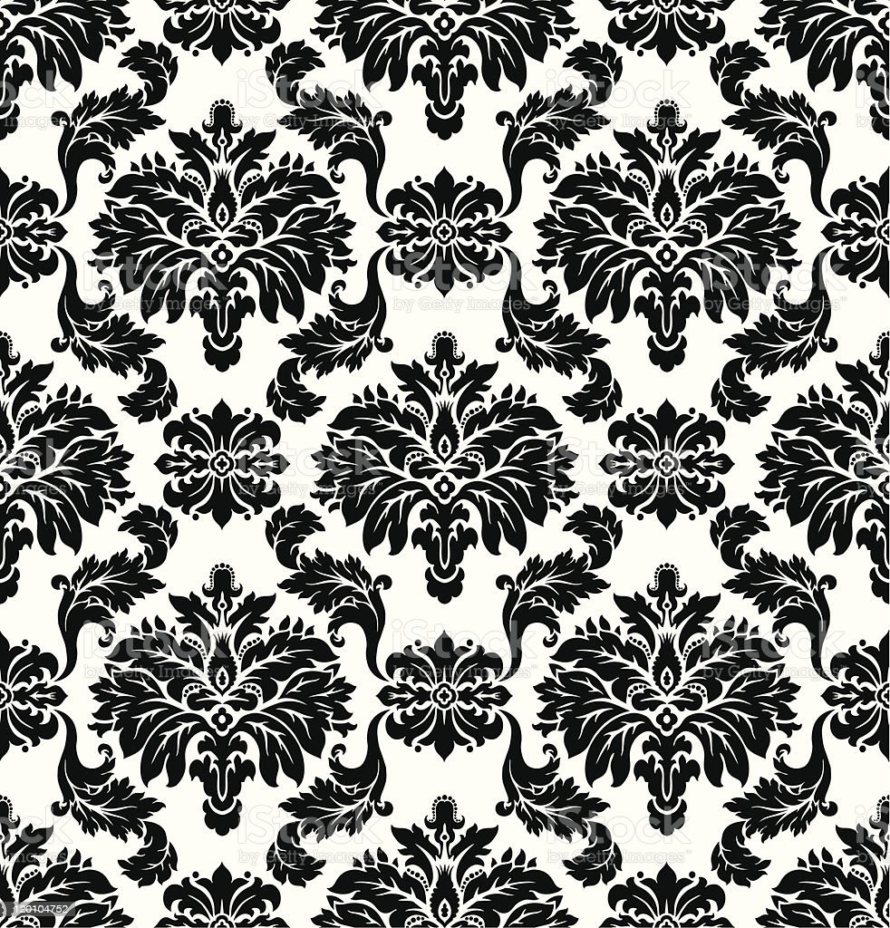 Vector. Seamless damask pattern vector art illustration