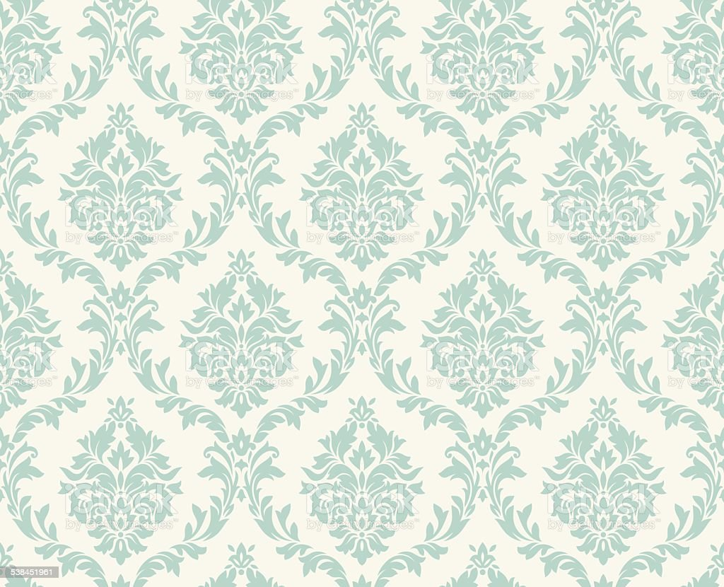 Vector seamless damask pattern vector art illustration