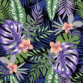 vector seamless dense tropical leaves pattern with flowers