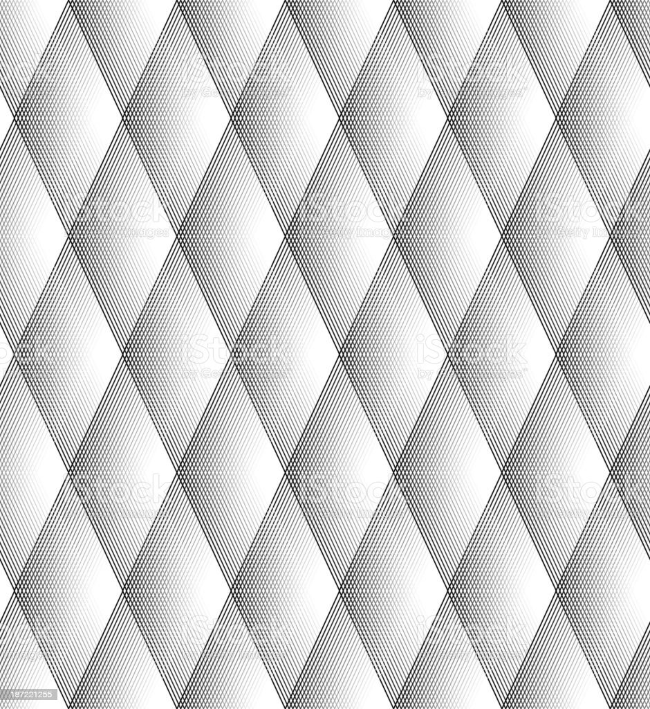 Vector - Seamless Diamond Pattern Black And White Lines royalty-free stock vector art