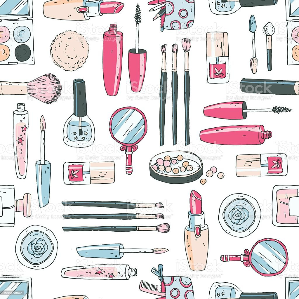 Vector seamless doodle pattern with cosmetic tools. Pastel color vector art illustration