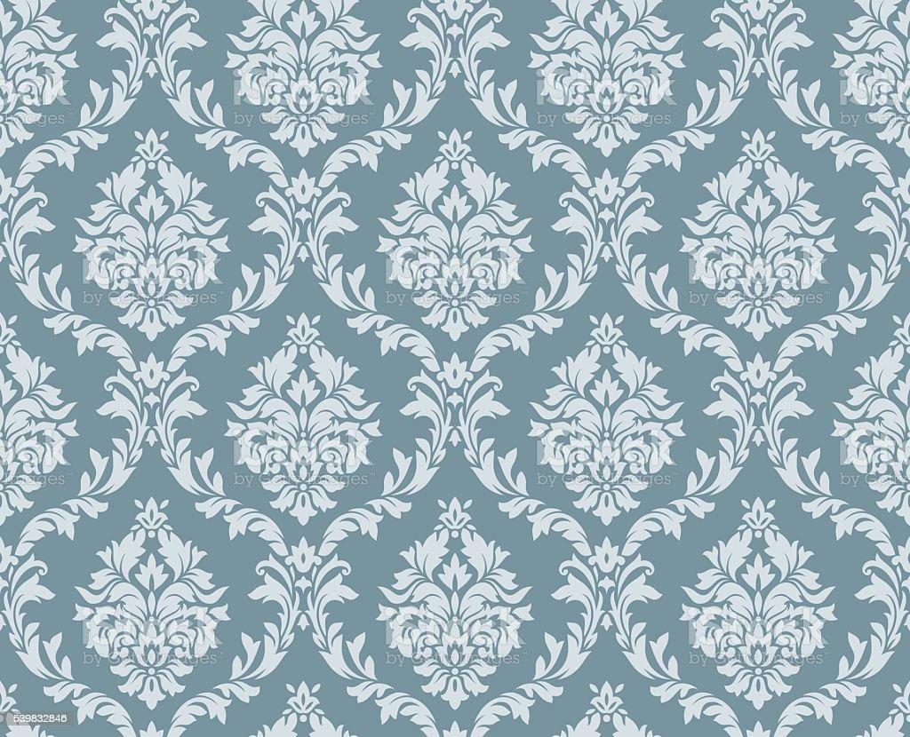 Vector seamless floral damask pattern vector art illustration