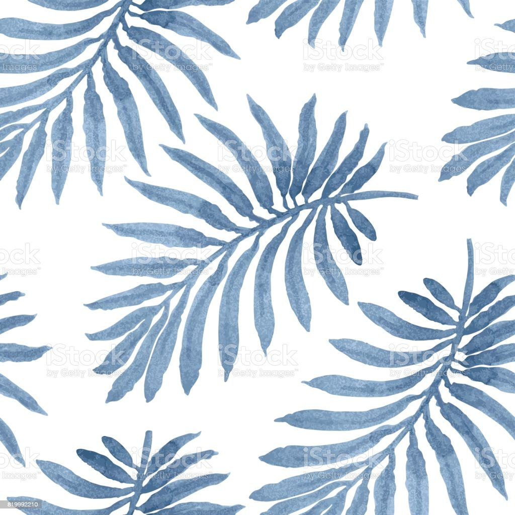 Vector seamless floral pattern from blue palm leaf silhouette with watercolor painted texture on a light grey background. Shabby chic wallpaper, wrapping paper, tropical textile print vector art illustration