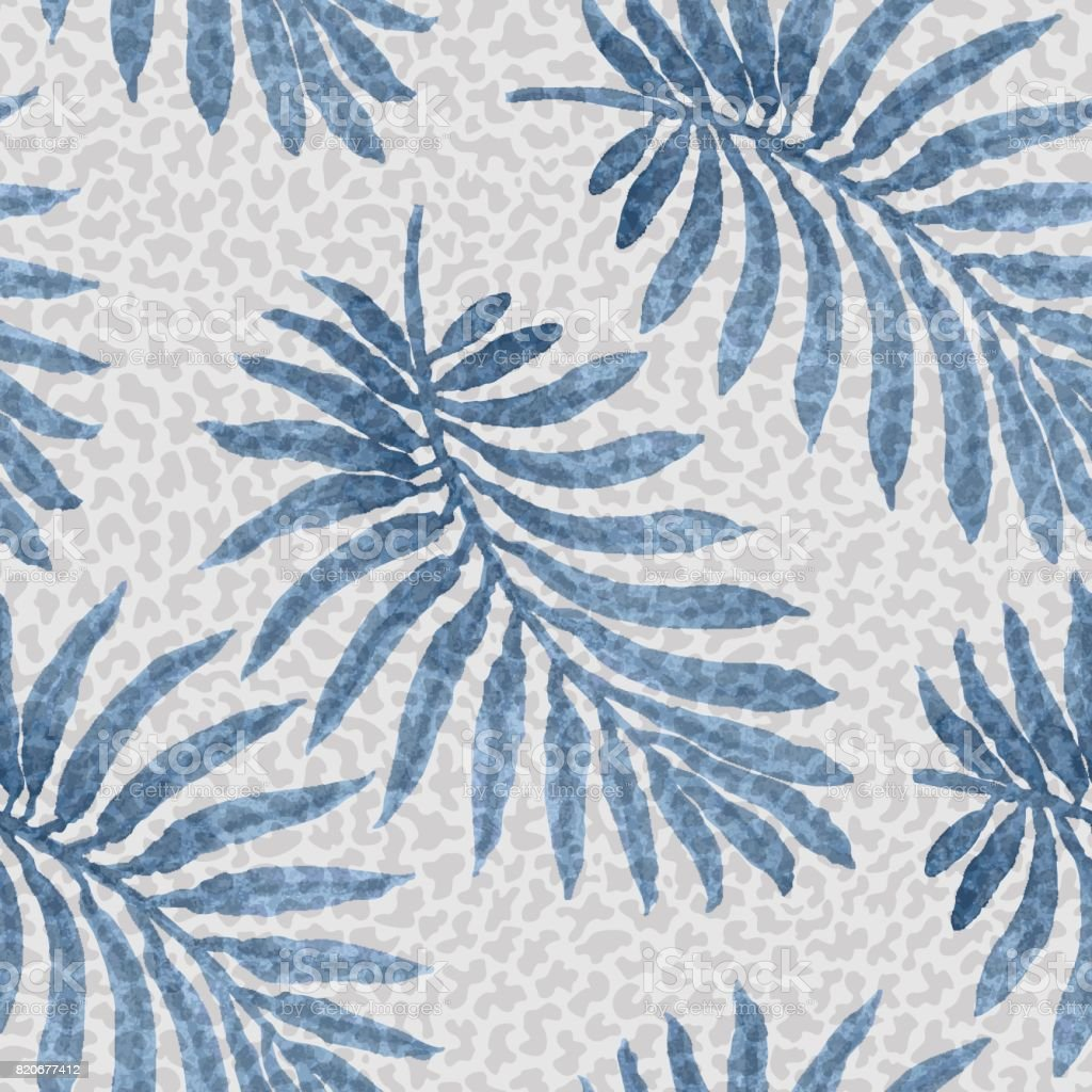 Vector seamless floral pattern from blue palm leaf silhouette with watercolor painted texture on a light grey dappled background. Shabby chic wallpaper, wrapping paper, tropical textile print. vector art illustration