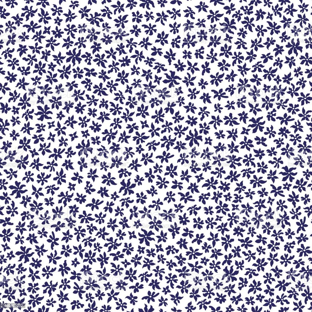 Vector seamless floral pattern from hand drawn stylized small dark indigo blue flowers in chaotic order on a white background. Trendy millefleurs style, small scale texture. Batik, wallpaper, wrapping paper, chintz, Liberty  textile print, album cover vector art illustration