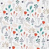 Vector seamless floral pattern. Romantic cute background with hand drawn