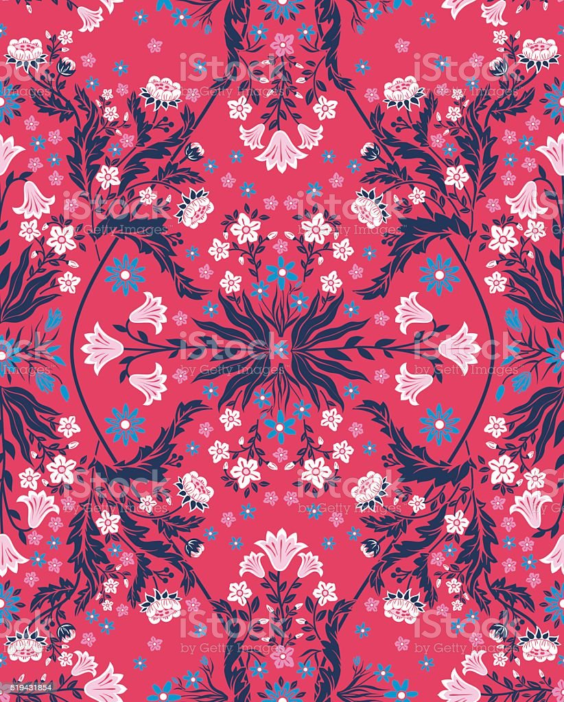 vector seamless gentle symmetrical fractal flowers with foliage pattern vector art illustration