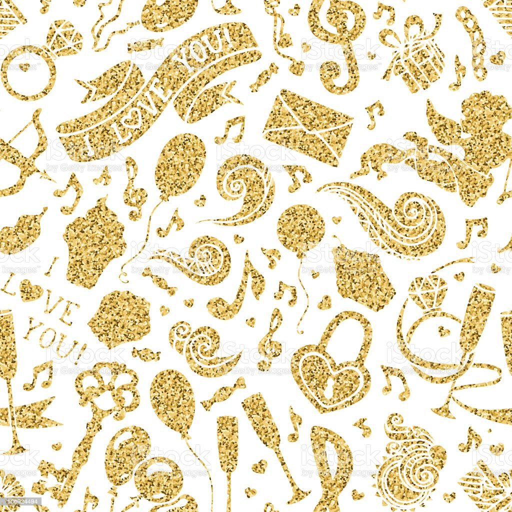 Vector seamless gold romantic pattern. vector art illustration