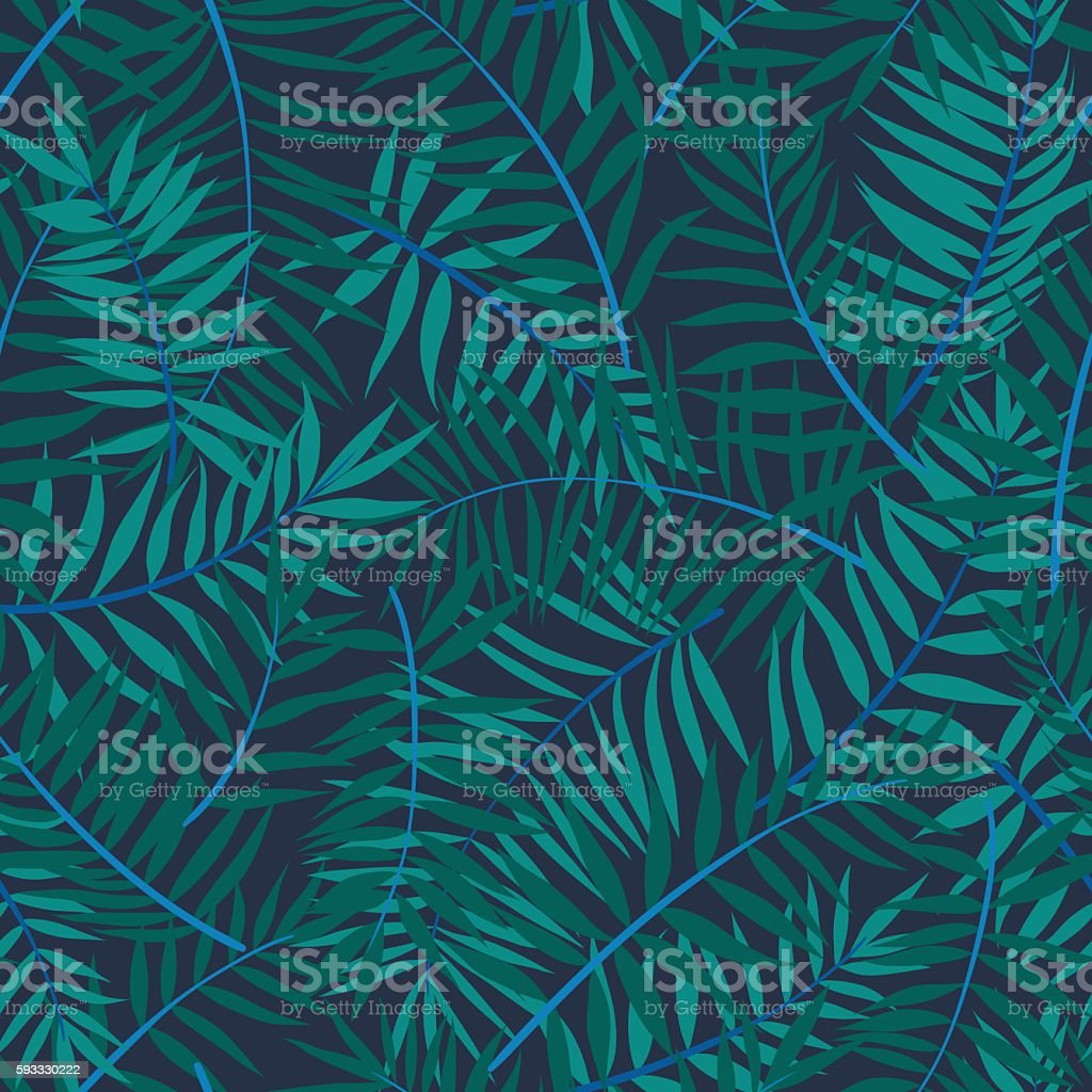 Vector seamless graphical green, emerald, blue tropical foliage pattern vector art illustration