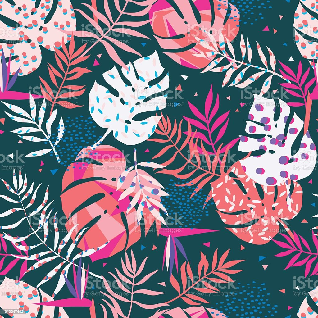 vector seamless graphical tropical leaves bright pattern with vibrant texture vector art illustration