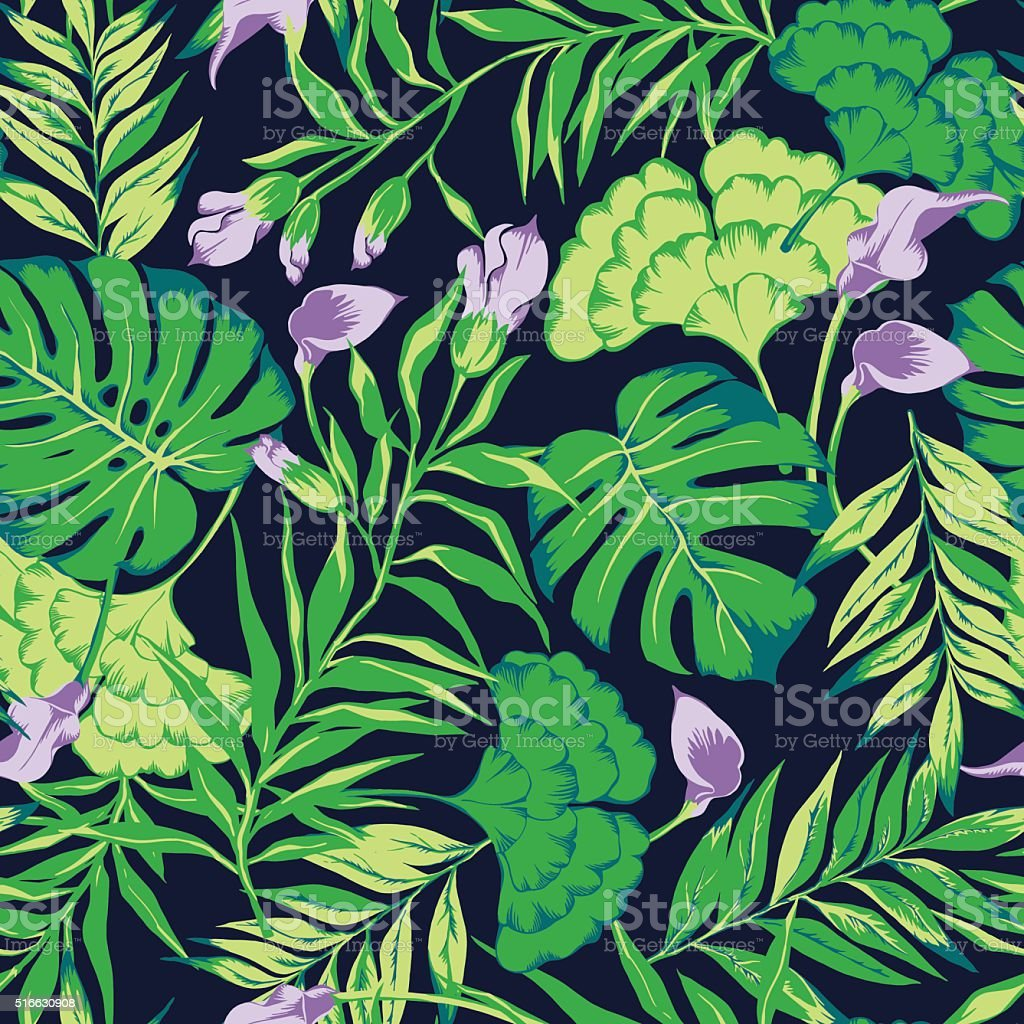 vector seamless green tropical leaves with flowers allover pattern vector art illustration