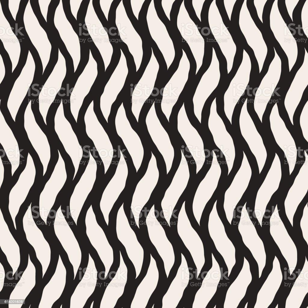 Vector Seamless Hand Drawn Vertical Wavy Lines Pattern vector art illustration