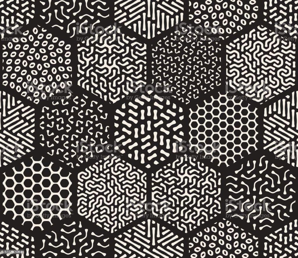 Vector Seamless Hexagonal Jumble Patterns vector art illustration