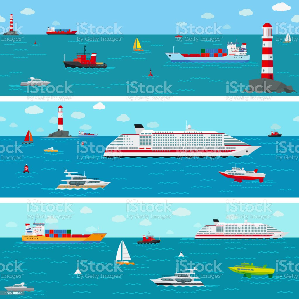 Vector seamless horizontal sea background with ship icons vector art illustration