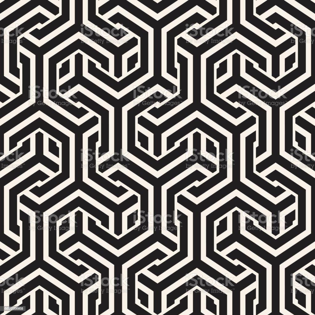 Vector Seamless Interlacing Lines Pattern. Repeating Geometric Background With Hexagonal Lattice. vector art illustration