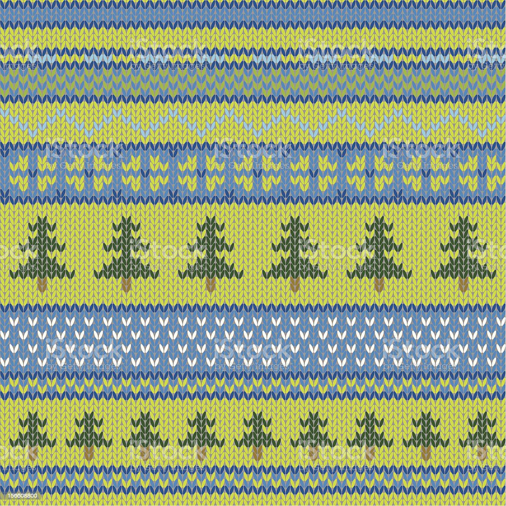 Vector seamless knitted pattern with pine royalty-free stock vector art