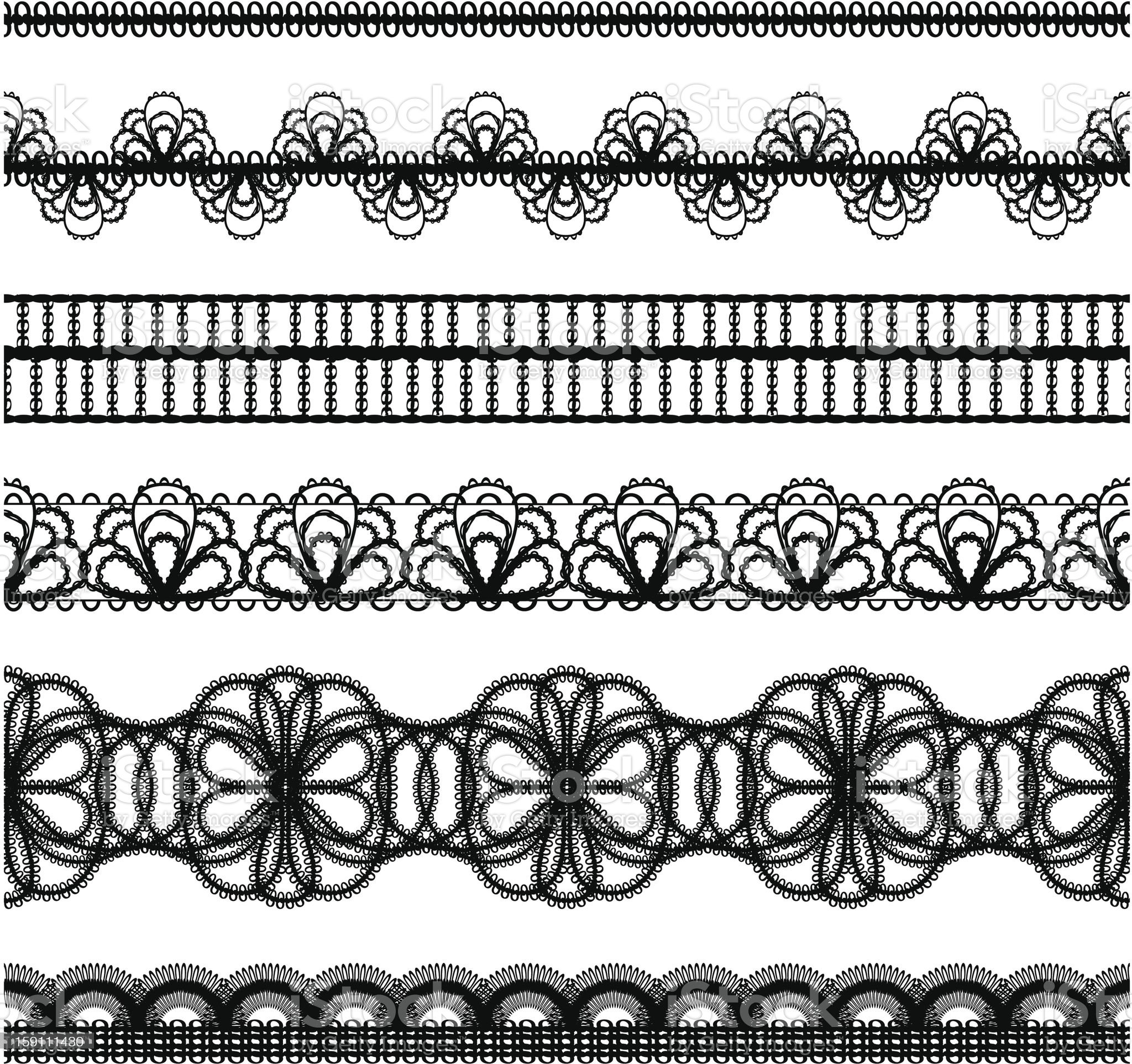 vector seamless lace borders. set royalty-free stock photo