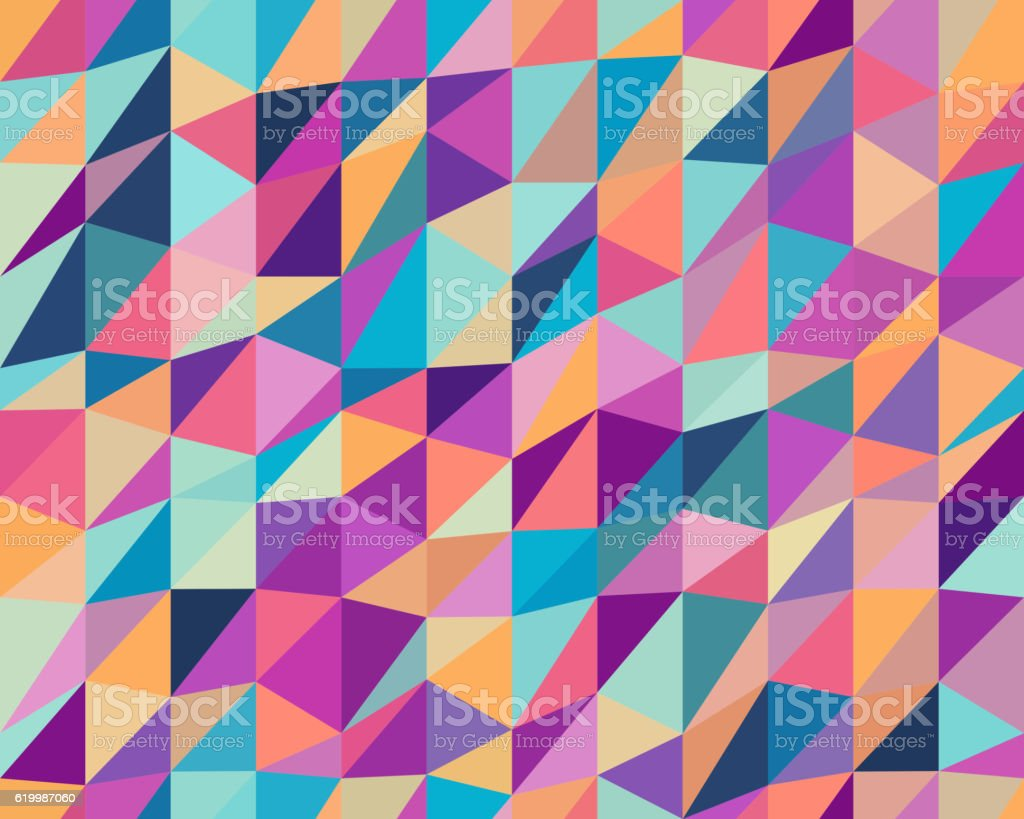 Vector Seamless Multicolor Triangle Low Poly Geometric Pattern vector art illustration